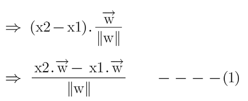 Dot product of two vectors: (x2-x1) and w