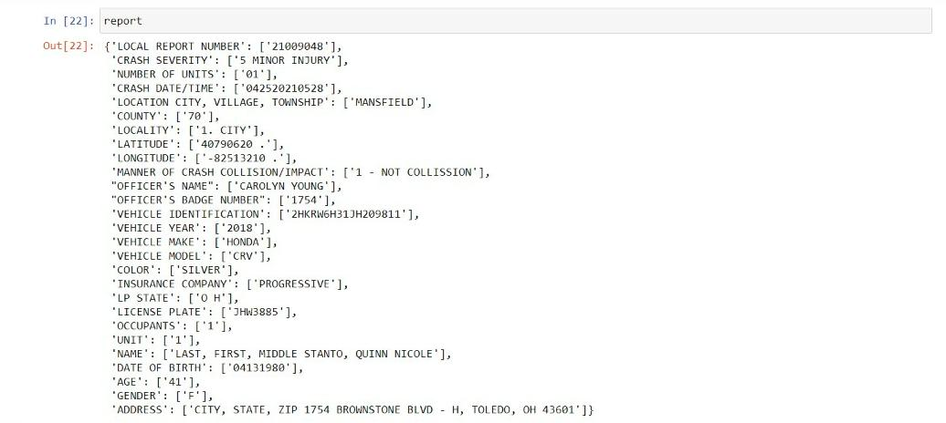 output 3   Data extraction