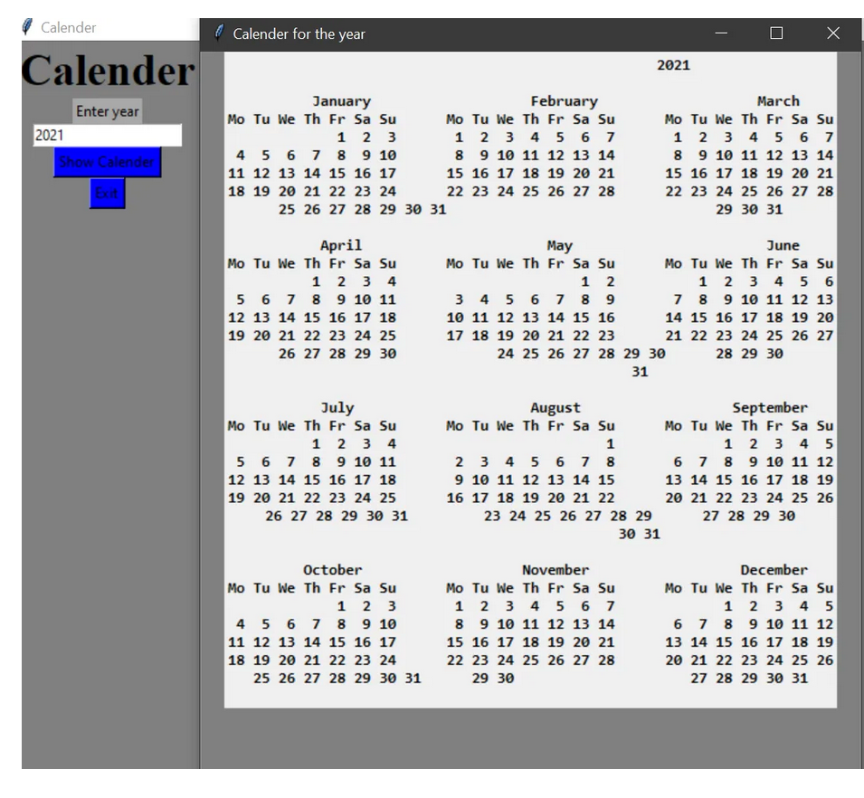 calender |Python projects