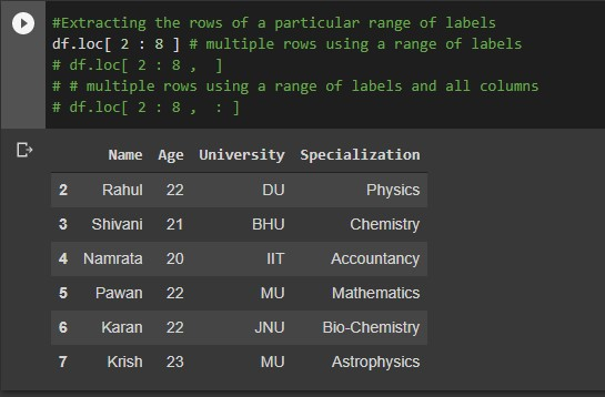 multiple rows with range of labels
