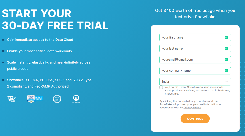 Creation of a Free Trial Account snowflake