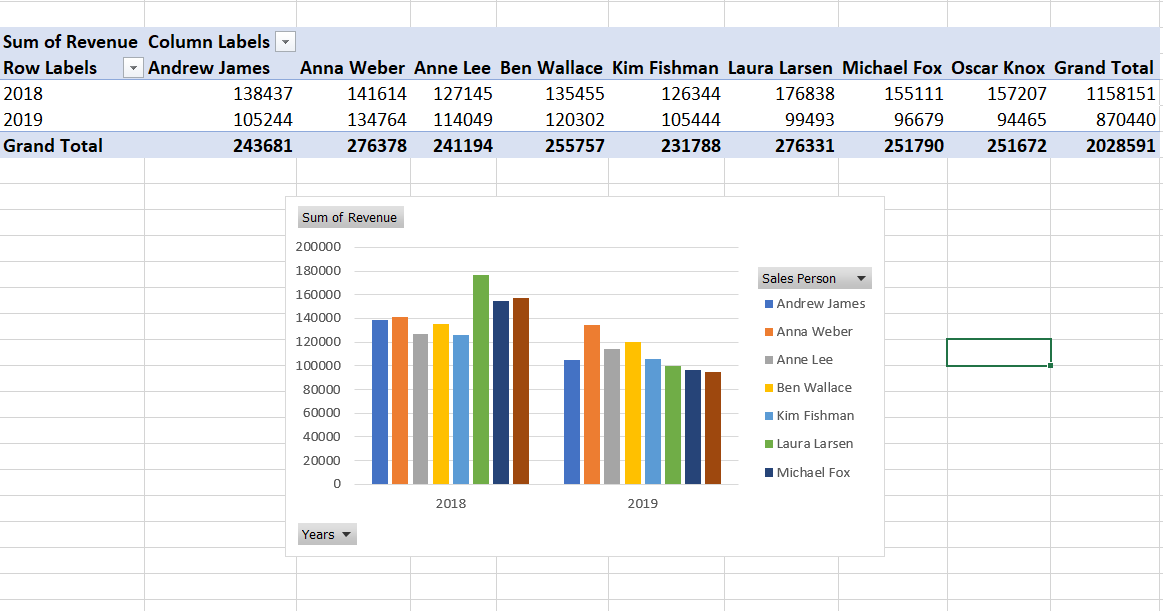 sales by employee | Dashboards in Excel