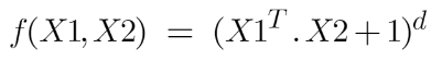 Formula for the polynomial kernel